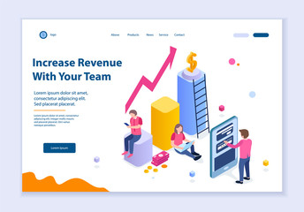 Creative website template of Increase Revenue with Your Team concept