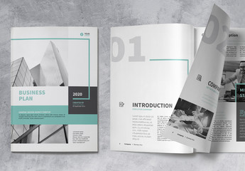 Business Brochure Layout with Turquoise Accents