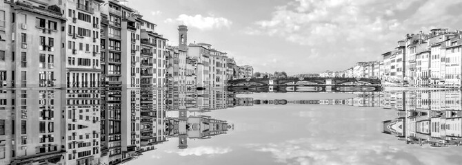 The beginning of the end, climate change does not exist, phrase of D.Trump, climate change, Artistic black and white photograph of the Famous places in Florence, Italy, flooded by the rising sea,