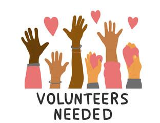 Volunteers hands up concept. Vector simple design