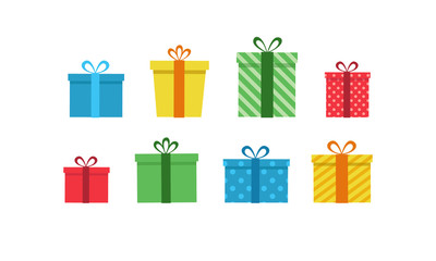 Colorful gift boxes set. Vector illustration of cute present boxes on white background. Flat design style.