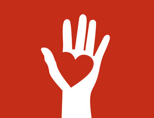 Raised hand with heart on its palm. Help, charity and love concept. Flat design