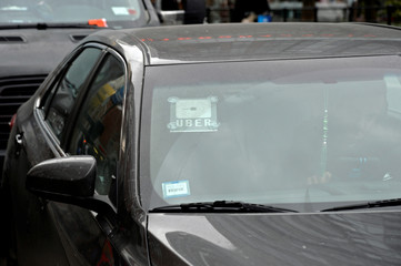 An Uber car is pictured in New York City