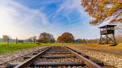 Spoed Fotobehang Spoorlijn Camp Westerbork