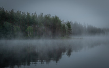 foggy lake in Finland