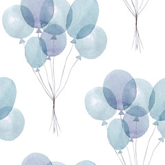 Hand drawn seamless pattern with watercolor balloons. Watercolor illustration. It can be used for wallpaper, fabric design, textile design, cover, wrapping paper, banner, card, background,