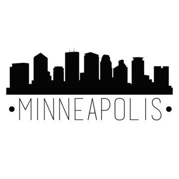 Minneapolis Minnesota Skyline Silhouette City Design Vector Famous Monuments Travel Landmark.