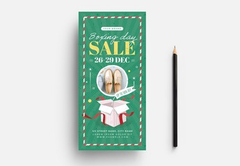 Boxing Day Sale Flyer Layout with Christmas Gift Box
