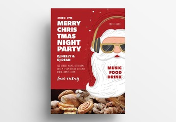 Christmas Party Flyer Layout with Dj Santa
