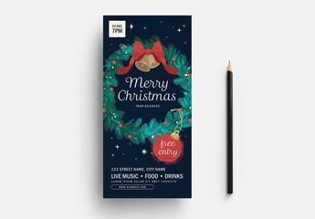 Merry Christmas Rack Card Layout with Christmas Wreath