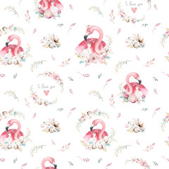 Watercolor cute cartoon little baby and mom flamingo with floral wreath seamless pattern. tropical fabric background. Mother and baby design. Animal drawing