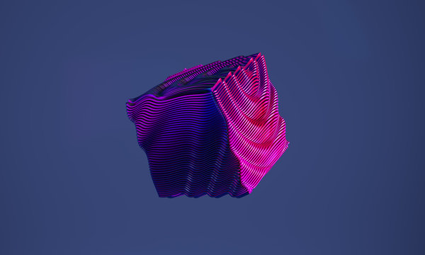 Abstract 3d graphic object on cold blue background