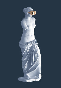 3D Model Aphrodite With Golden Virtual Reality Glasses On Blue Background. Concept Of Art Inside Virtual Reality.
