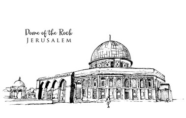 Drawing sketch illustration of Dome of the Rock