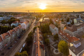 Szczecin cityscape with beautiful sunset, Poland, Europe.