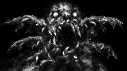Scary monster face with opened mouth. Black and white Fotobehang