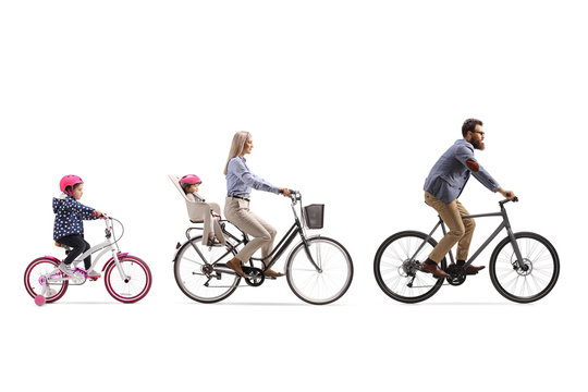 Father, mother and two girls riding a bicycle with a child