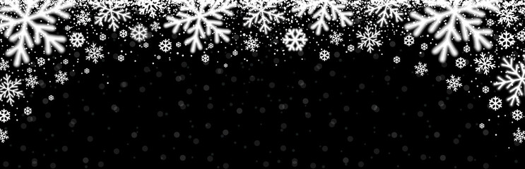Wall Mural - Black christmas banner with white blurred snowflakes. Merry Christmas and Happy New Year greeting banner. Horizontal new year background, headers, posters, cards, website. Vector illustration