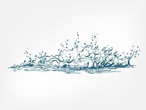 splash vector isolated line water drop