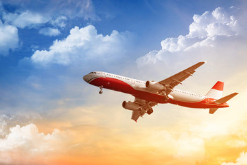Poster Avion à Moteur Commercial airplane flying