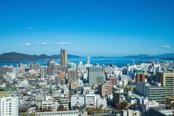 Cityscape of Takamatsu city in the Seto Inland Sea ,Kagawa, Shikoku, Japan