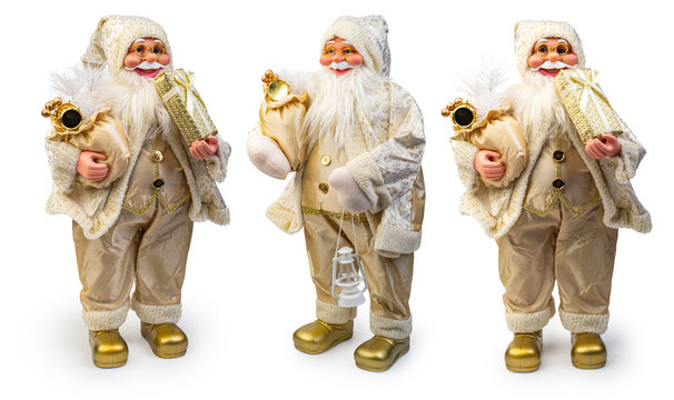 Santa Claus Christmas decoration isolated on white background, Clipping path included