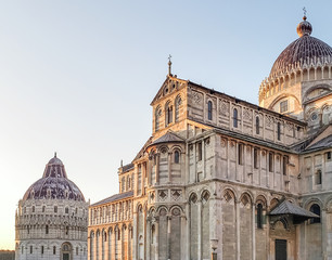 A stunning daily view of  the Leaning Cathedral of Pisa, which is located on Piazza dei Miracoli (Square of Miracles).