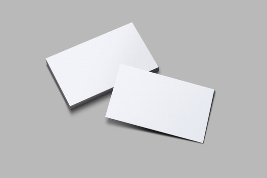 3D rendered horizontal Business visiting card mock-up with front and back. Invite, tag, empty mockup for Presentation on isolated Light Grey background -  illustrating