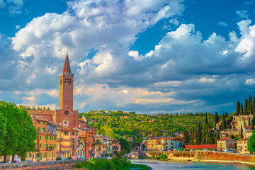 Verona, Italy. A scenic panoramic view of the river of Adige