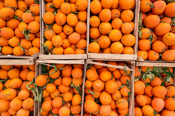 Harvest of oranges in a wooden cart for sale on the market. Mediterranean foofd culture, fresh fruits in the market on the street.