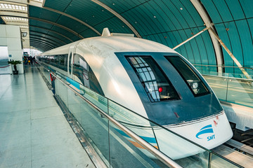 Maglev train in Shanghai, China. This train is the first commercially operated high-speed magnetic levitation line in the world