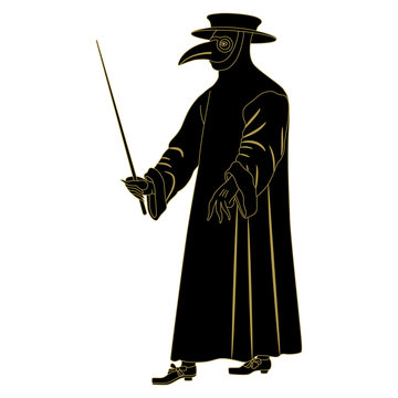Silhouette of plague doctor. Medieval spooky costume with long beak..