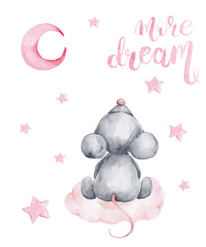 Grey mouse sitting on a cloud and pink moon and stars; watercolor hand draw illustration; with white isolated background