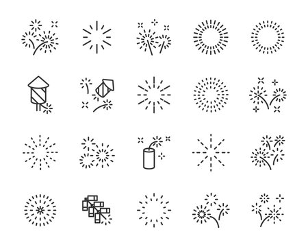 set of firework icons, celebration, happy new yeaar, chinese firework