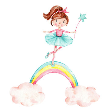 Cute cartoon fairy girl standing on the rainbow; watercolor hand draw illustration; with white isolated background