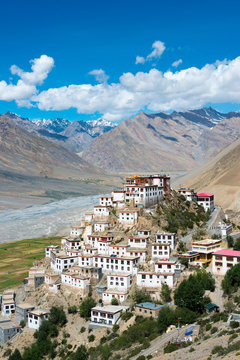 Himachal Pradesh, India - Sep 01 2019- Key Monastery in Spiti, Himachal Pradesh, India.