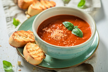 Tasty and creamy tomato soup made of fresh tomatoes Fotomurales