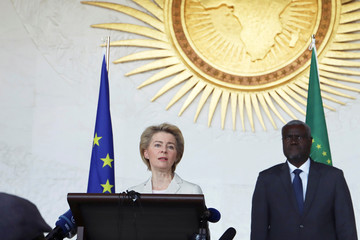 European Commission President, Ursula Von Der Leyen, and Moussa Faki Mahamat, Chairperson of the Africa Union Commission, attend a meeting in Addis Ababa