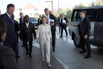 European Commission President Ursula Von Der Leyen arrives at the Africa Union Commission headquarters during her visit to Addis Ababa