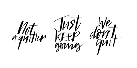 Set of motivation quotes calligraphy brush doodles