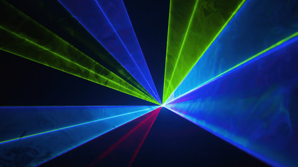 Circle of lights disco laser. Various colors creating rays of light