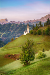 Garden Poster Pistachio Beautiful landscape of church in Dolomites mountains