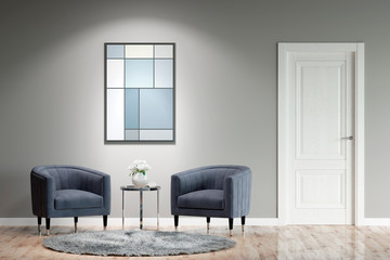 Modern interior with two armchairs, a coffee table, a picture on a gray wall, carpet on the parquet floor and a door. Front view. 3d illustration