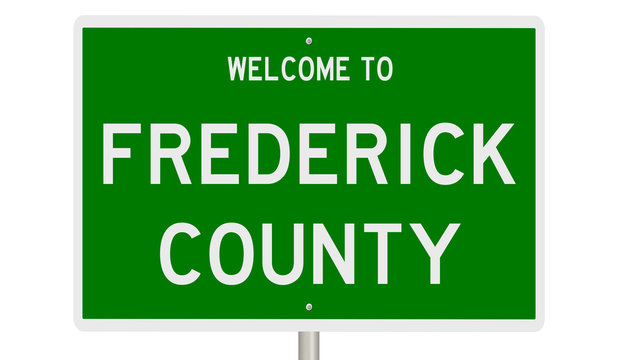 Rendering of a 3d green highway sign for Frederick County