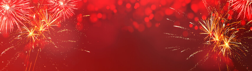 Silvester background panorama banner long - Firework on red texture with bokeh Lights and space for text Fototapete