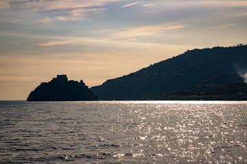 Phlegraean Islands, Ischia, Naples, Campania, Italy: silhouette of Aragonese Castle (Castello Aragonese), a medieval castle next to Ischia
