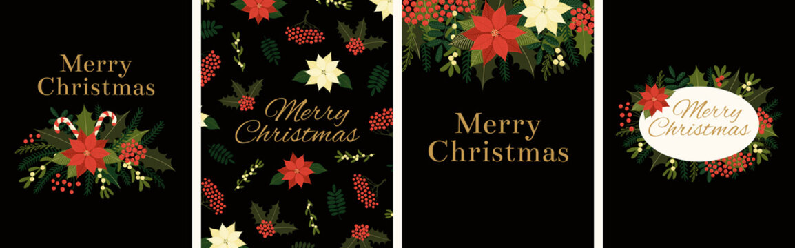 Collection of Christmas cards with floral arrangements of poinsettia, holly, mistletoe, fir, text, on dark background. Vector illustration. Flat style design. Concept holiday print, invite, gift tag.