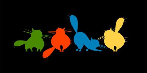 Fotobehang - Funny big cats family, black silhouette