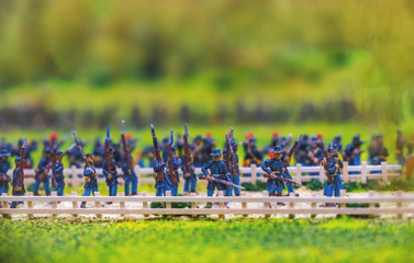 carabine toy soldiers marching in blue uniform military forces of the union in the american civil war