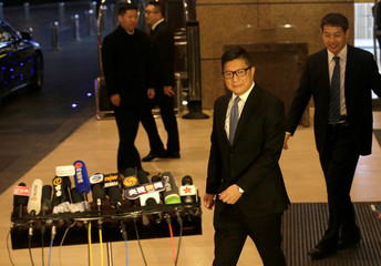 Hong Kong's Commissioner of Police Chris Ping-keung Tang arrives for a news conference in Beijing